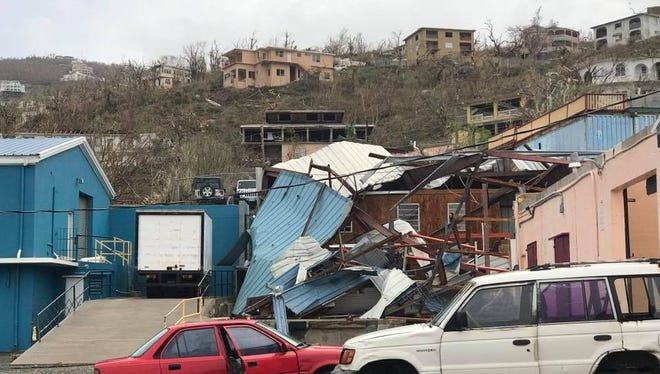 Damage on St. Thomas from Hurricane Irma.