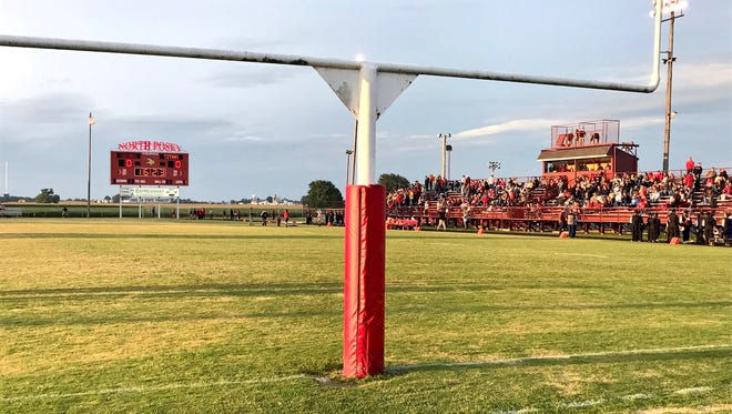 Moments before the Gibson Southern and North Posey high school football game Friday, Sept. 1, 2017, at Joe Gengelbach Field in Poseyville, Ind.