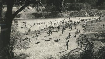 Estabrook Park Beach was an attractive spot for swimmers in its day. This photo was published in The Milwaukee Journal on July 12, 1932.