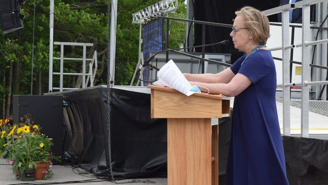 Principal Susan Cressey addresses graduates for the final time during Kennebunk High School's commencement ceremony on Sunday, June 7. Cressey is retiring at the end of the month.
