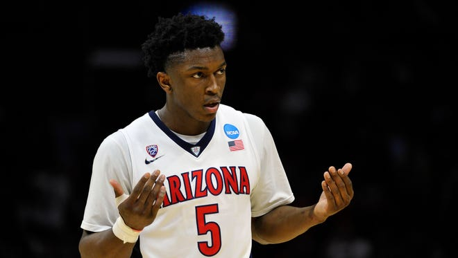 March 26, 2015: Arizona Wildcats forward Stanley Johnson (5) reacts against Xavier Musketeers during the second half in the semifinals of the west regional of the 2015 NCAA Tournament at Staples Center.