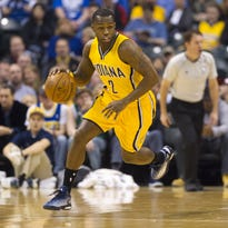 Indiana Pacers guard Rodney Stuckey (2) brings the ball up court during the first half of an NBA basketball game, Friday, April 3, 2015, in Indianapolis. Pacers led at the half 49-38.