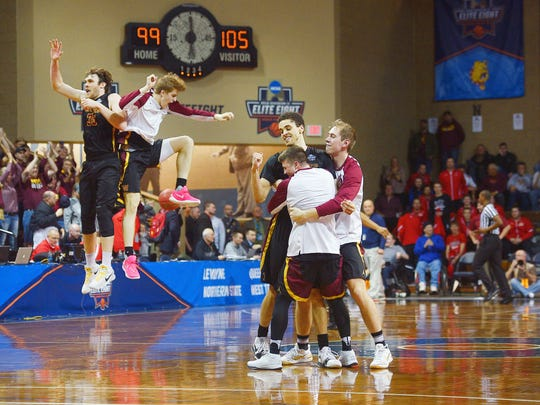 Northern State celebrates on the court after their