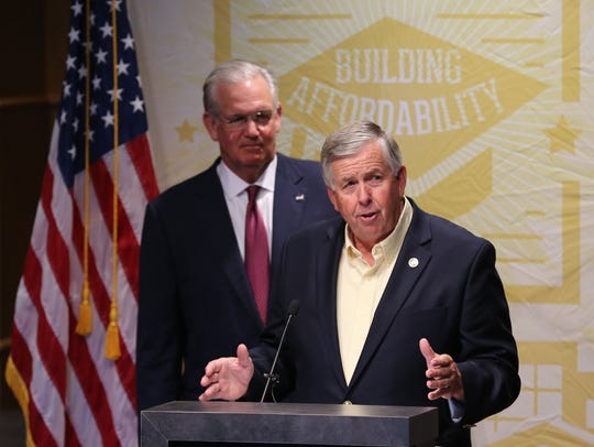 In 2015, Mike Parson speaks at a press conference. Former Gov. Jay Nixon announced a state investment of $200 million in college campus improvements, including $19 million for renovations at Missouri State University.