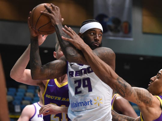 The Reno Bighorns' JaKarr Sampson looks to pass the