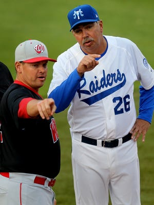 HELEN COMER/ DNJ MTSU's head baseball coach Jim McGuire talks with Western Kentucky's head coach Matt Myers before the game at MTSU on Friday May 1, 2015.
