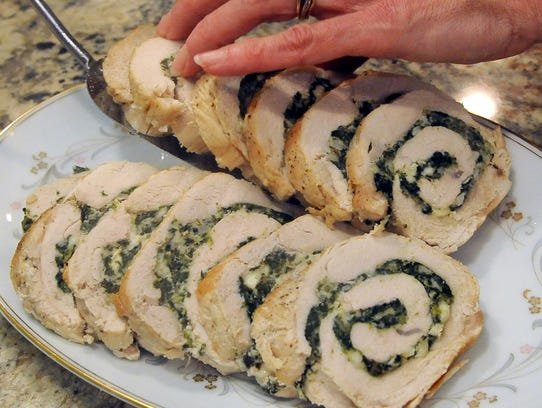 Slices of turkey breast stuffed with spinach and feta