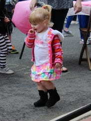 Faith Kaufmann, 1, of Hammonton, dances during the