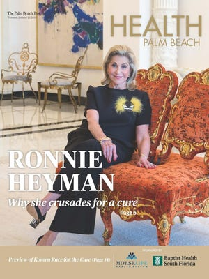 Health Palm Beach publishes Thursday in The Palm Beach Post and features an in-depth profile of Ronnie Heyman, who will be receiving the inaugural Evelyn H. Lauder Humanitarian Award from the Breast Cancer Research Foundation for her decades-long commitment and fundraising to find a cure for the disease. Learn about the very personal connection Heyman has to the disease and why she's so passionate about eradicating it.
