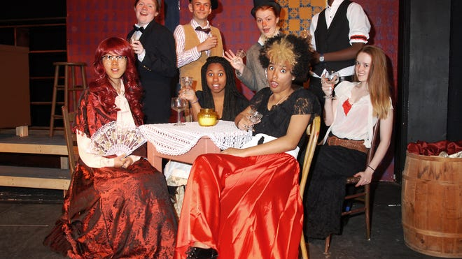 """The cast of Oakwood Friends School's production of """"Picasso at the Lapin Agile"""" include, front row, left to right, Nuoya Zhou, Victoria Jackson, Zaneta Soumbounou and Nayana Pratt. Back row, left to right, are Caitlin McGuinness, Daniel Barletta, Caroline Norfleet and Armand Murayire."""