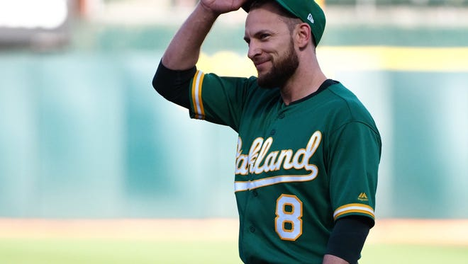 Jun 29, 2018; Oakland, CA, USA; Oakland Athletics second baseman Jed Lowrie (8) adjusts his hat between plays against the Cleveland Indians during the first inning at Oakland Coliseum. Mandatory Credit: Kelley L Cox-USA TODAY Sports