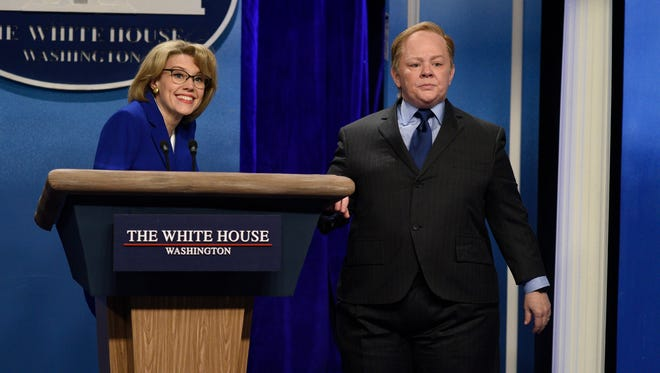 "Kate McKinnon, left, as Betsy DeVos, and Melissa McCarthy as Press Secretary Sean Spicer during the ""Sean Spicer Press Conference"" sketch on Feb. 4, 2017, on ""Saturday Night Live."""