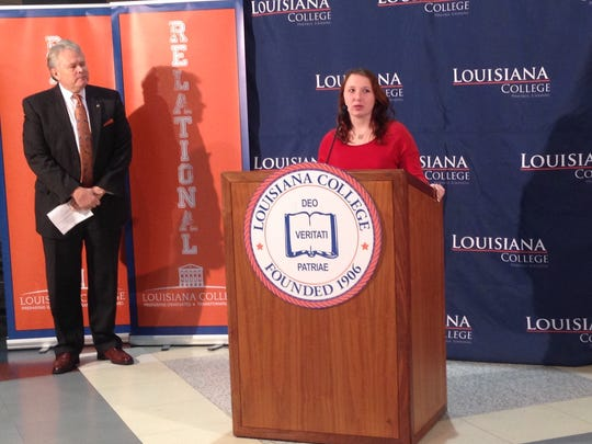 Paige Dubois, a sophomore social studies education major, talks about relief she feels after learning Louisiana College no longer is on probation with its accrediting agency.