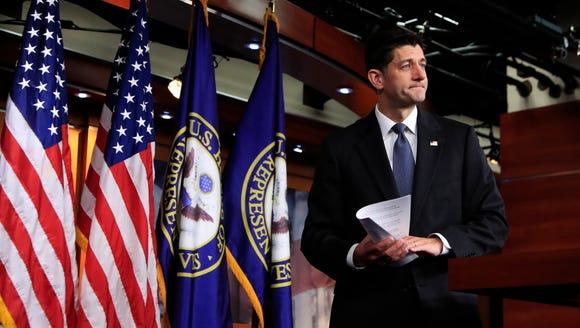 House Speaker Paul Ryan of Wisconsin leaves the lectern