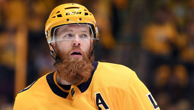 Predators defenseman Ryan Ellis skates on the ice during the second period of a first-round playoff game against the Avalanche at Bridgestone Arena in Nashville on April 14.