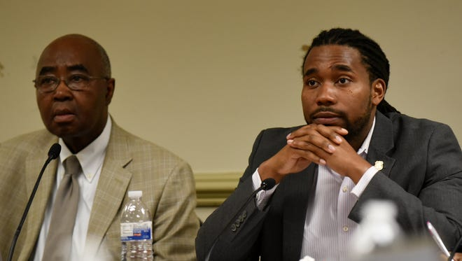 Paterson Superintendent Donnie Evans, left, and school board President Chris Irving.