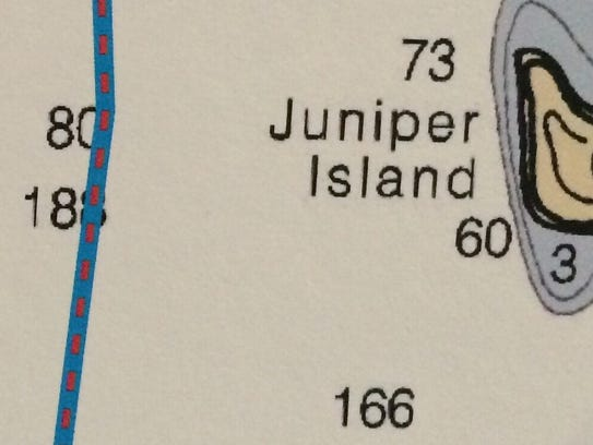 Offshore from Juniper Island: The blue line on this