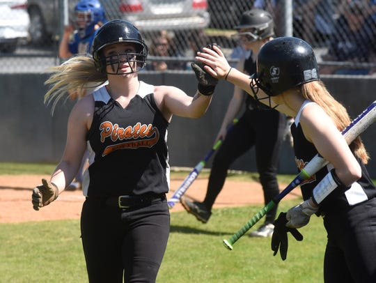 Calico Rock's Megan Hiles is congratulated after scoring