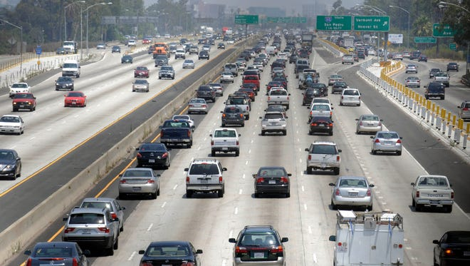 Traffic stacks up on the eastbound Santa Monica Freeway in Los Angeles.