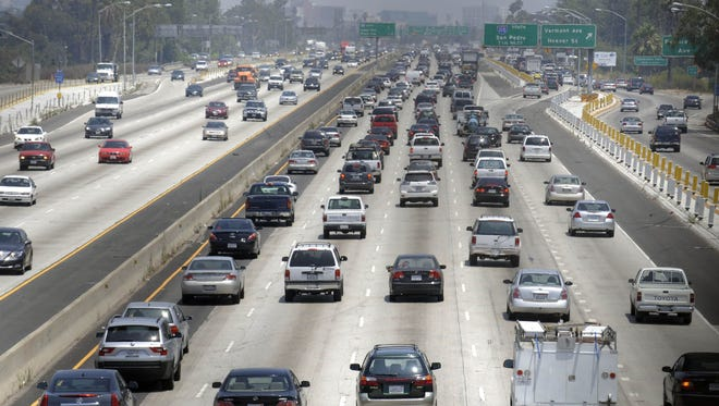 In this file photo, traffic stacks up on the eastbound Santa Monica Freeway in Los Angeles