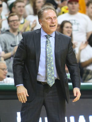 Michigan State basketball coach Tom Izzo watches action against the Penn State Nittany Lions on Sunday, Feb. 28, 2016, at the Breslin Center in East Lansing.