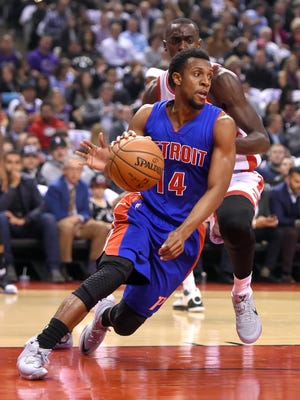 Pistons point guard Ish Smith had an assist-to-turnover ratio of 7-0 in the opening night loss at Toronto on Wednesday, Oct. 26, 2016.