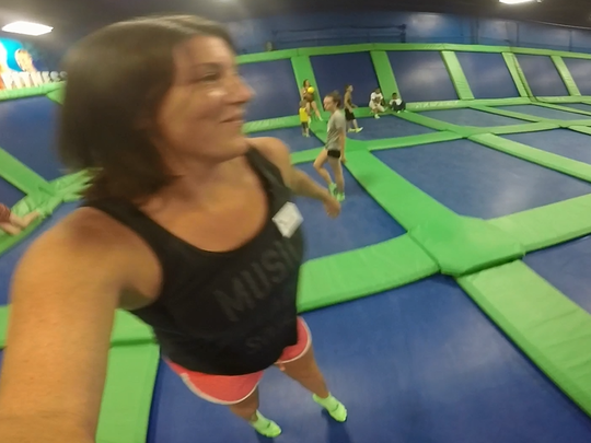 Michelle Mulak enjoys a bouncy, trampoline-based workout at Airheads Trampoline Arena in Orlando.