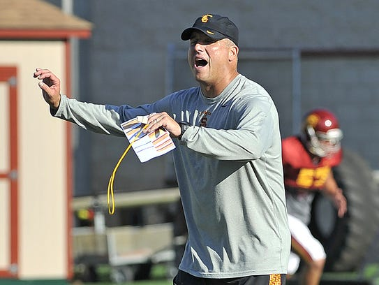 USC head coach Clay Helton conducts practice in Los Angeles.