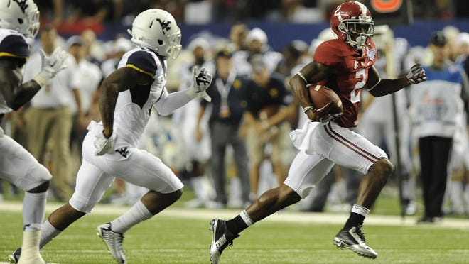 Alabama makes a first down against West Virginia.