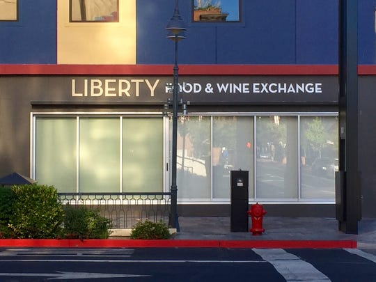 The sign on the Sierra Street side of the new Liberty Food & Wine Exchange.