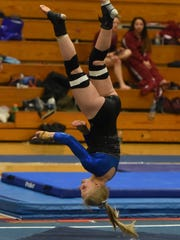 O'Gorman's Callie DeWitt competes in the floor competition