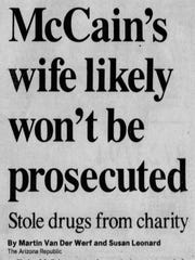 A newspaper clipping of The Arizona Republic's article on Aug. 23, 1994, about Cindy McCain's drug addiction.