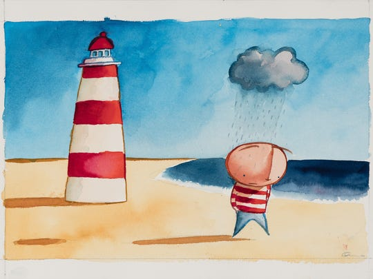 """The Boy's Personal Rain Cloud,"" a watercolor on paper, by Oliver Jeffers can be viewed at an exhibition of his work June 7 to Sept. 30 at the National Center for Children's Illustrated Literature in Abilene. It was created while Jeffers was working on ""How to Catch a Star."""