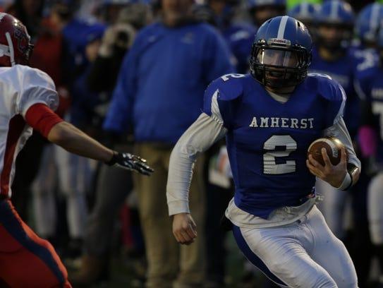 Amherst's Garrett Groshek rushed and passed for more