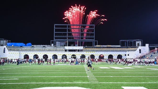 Fireworks at the conclusion of a football game between the Troy Trojans and the Texas State Bobcats on Nov. 24, 2017 at Veteran's Memorial Stadium in Troy.