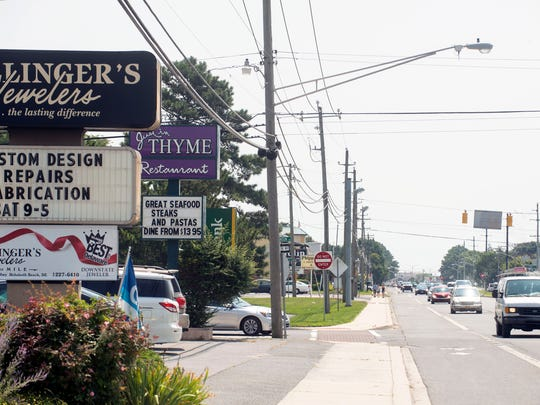 "Restaurants and businesses line the ""Forgotten Mile"" between Rehoboth Beach and Dewey Beach."