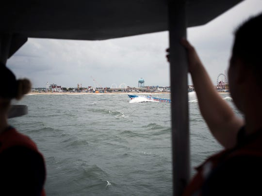 A view of the Ocean City coast as the Coast Guard navigates back to the station.
