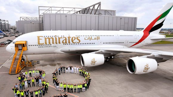 Emirates airline shows off the carrier's 80th Airbus