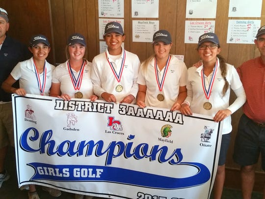 """The Deming High Lady Wildcats captured the District 3-6A team championship Tuesday at Dos Lagos Golf Course in Anthony, N.M. From left are assistant coach Richard Perales, Ann marie Magana, Presley Jackson, Alyssa """"Cheeks"""" Magana, Aubrey Sandoval, Sahira Contreras and head coach James Williams."""