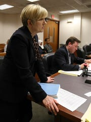 Beth McMahon, Chief of the Juvenile Trial Division with the Public Defenders Office, listens to a case in Judge David Holton, II courtroom.February 28, 2017