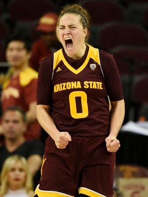 ASU guard Katie Hempen reacts to making a 3-pointer against USC in a 50-45 win Friday. She led the Sun Devils with 11 points.