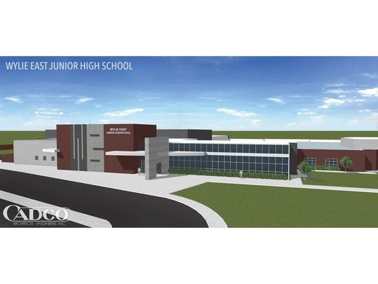 Artist's rendering of the appearance expected for the Wylie East Junior High School on Colony Hill Road. The school is expected to open in August 2019.