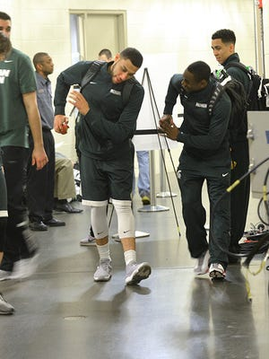 "Denzel Valentine and Lourawls ""Tum Tum"" Nairn were dancing Saturday. Will the Spartans still be doing so Sunday night?"