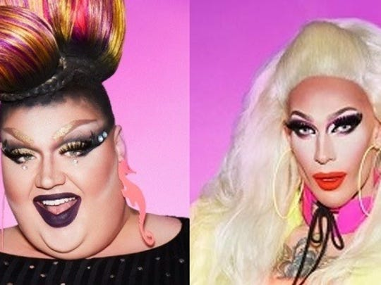 "Eureka, left, and Kameron from the 10th season of ""RuPaul's Drag Race"""