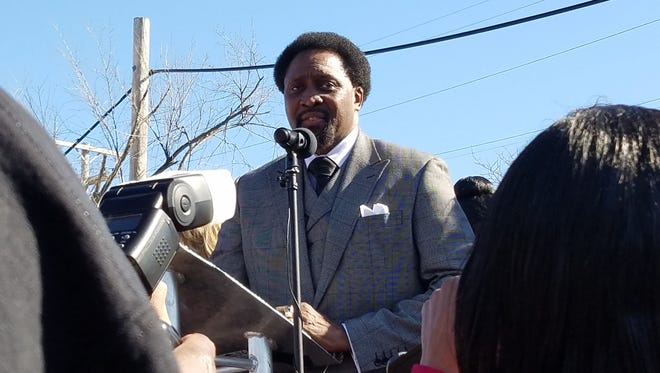 Renowned boxer Thomas Hearns speaks during the christening ceremony of Thomas (Hitman) Hearns Avenue in Detroit on Feb. 18, 2017.