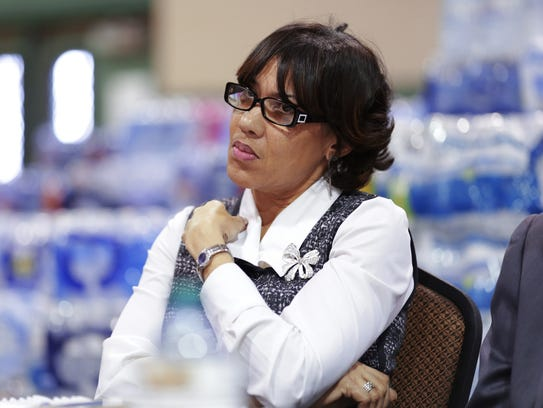 Flint Mayor Karen Weaver takes part in a town hall