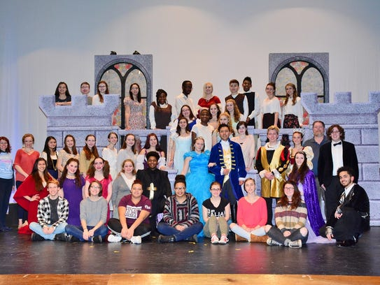 "The cast and crew of ""Cinderella"" gather for a group"