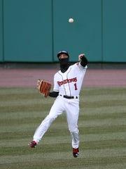 Red Wings centerfielder Zack Granite fields the ball