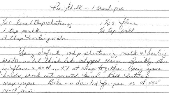 This pie crust recipe, written out by Joan H. Concilio, is what author Joan S. Concilio requested instead of a birthday cake almost every year.