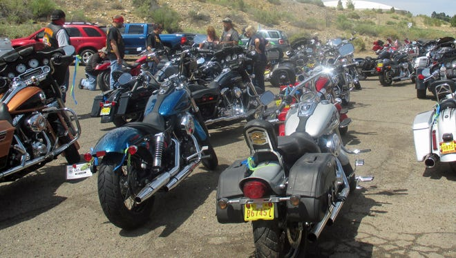 Motorcycles are pictured after the Rolling with the Military motorcycle run on June 11 in Farmington.